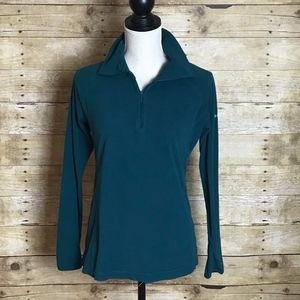 COLUMBIA FLEECE PULL OVER GREEN  EUC SIZE SMALL